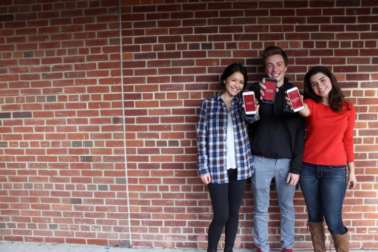 students used likeso to practice for their college interview. Students standing outside of a school building